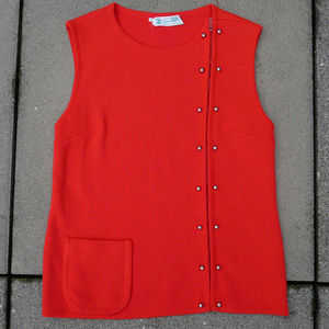 Vintage GINO PAOLI wool sweater / vest, red, M